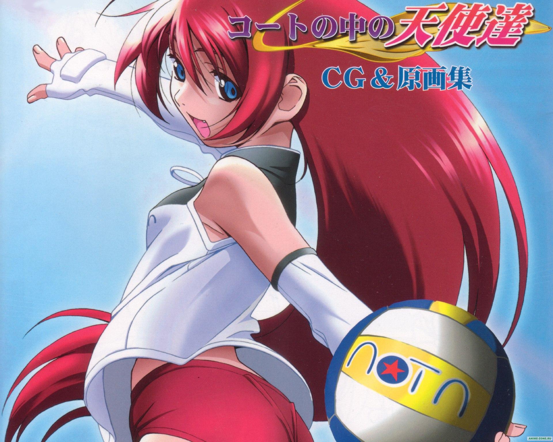 Аниме картинка Angels in the court. Court no Naka no Tenshi-tachi. Аниме обои Ангелы на волейбольной площадке